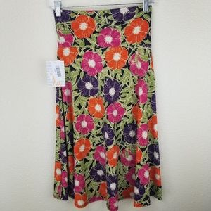 LuLaRoe Azure Purple Pink Orange Floral Skirt XS